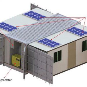 Der Container - geöffnet: Solarzellenplatten, externe Klimaanlageeinheit, Dieselgenerator