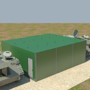 Ein Kranwagen liefert die Container und Panzerplatten zum Einsatzort