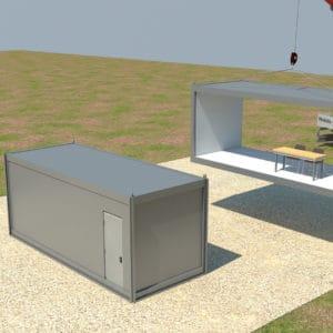 Drei Container werden nebeneinander aufgestellt