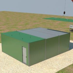 Die Container werden verbunden und an Strom angeschlossen und APGs werden für zusätzlichen Schutz positioniert