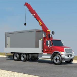 Ein Kranwagen bringt den Container zum Einsatzort