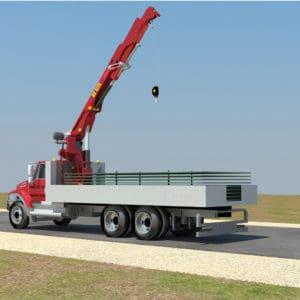 Ein Kranwagen bringt die Schutzwände aus Stahl zum Einsatzort