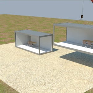 Vier Container werden positioniert, einer neben dem anderen